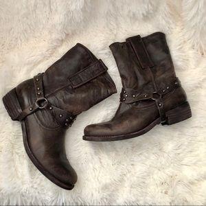Sam Edelman brown Lakota leather Moto boots 8-1/2